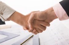 Customer Rated Service from our Basement Finishing Contractors- Handshake