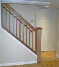 Renovated basement staircase in Cranberry Township