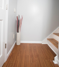 Basement wood-like plank flooring