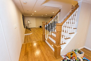 Finishing touches for a remodeled basement in Bethel Park