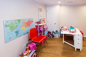 Children's playroom installed in a Monroeville basement